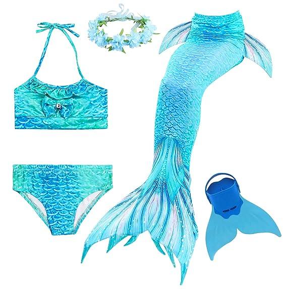 Romance Zone Cola de Sirena para Natación 5pcs Traje de Baño Mermaid Bikini Establece Disfraz de Sirena para Niña Princesa Cosplay Conjuntos con ...