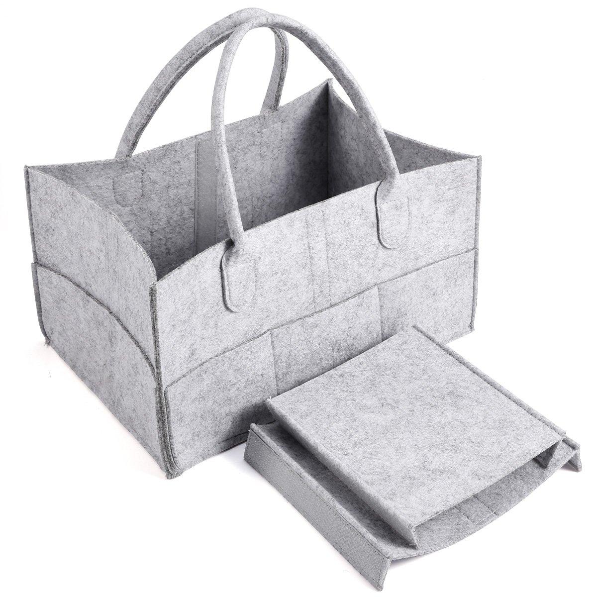Anladia 3 Compartments Portable Baby Organizer Bag Diaper Nappy Bottle Changing Divider Storage Handbag Grey