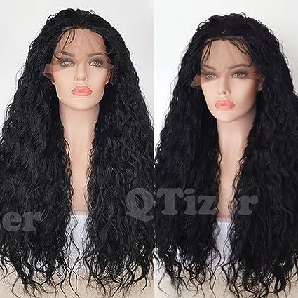 qd-tizer Loose rizado peluca Natural ondulado frente de encaje profunda rizado pelo sintético peluca
