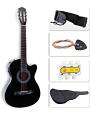 """LAGRIMA 38"""" Acoustic Guitar Cutaway Design, Natural 6 Steel Strings with Nylon Bag,Tuner, Pickups, Strap for Beginners, Kids, Adults, Black"""