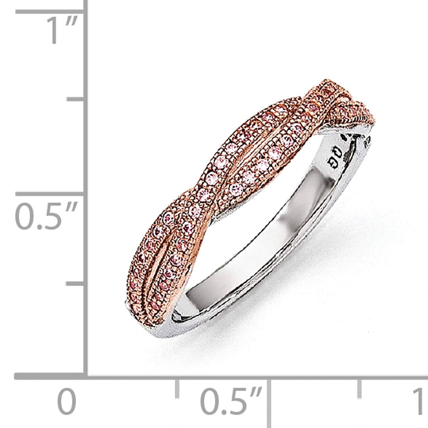 Brilliant Embers 925 Sterling Silver Rhodium-plated /& Rose-tone Polished CZ Ring Band Size 6-8