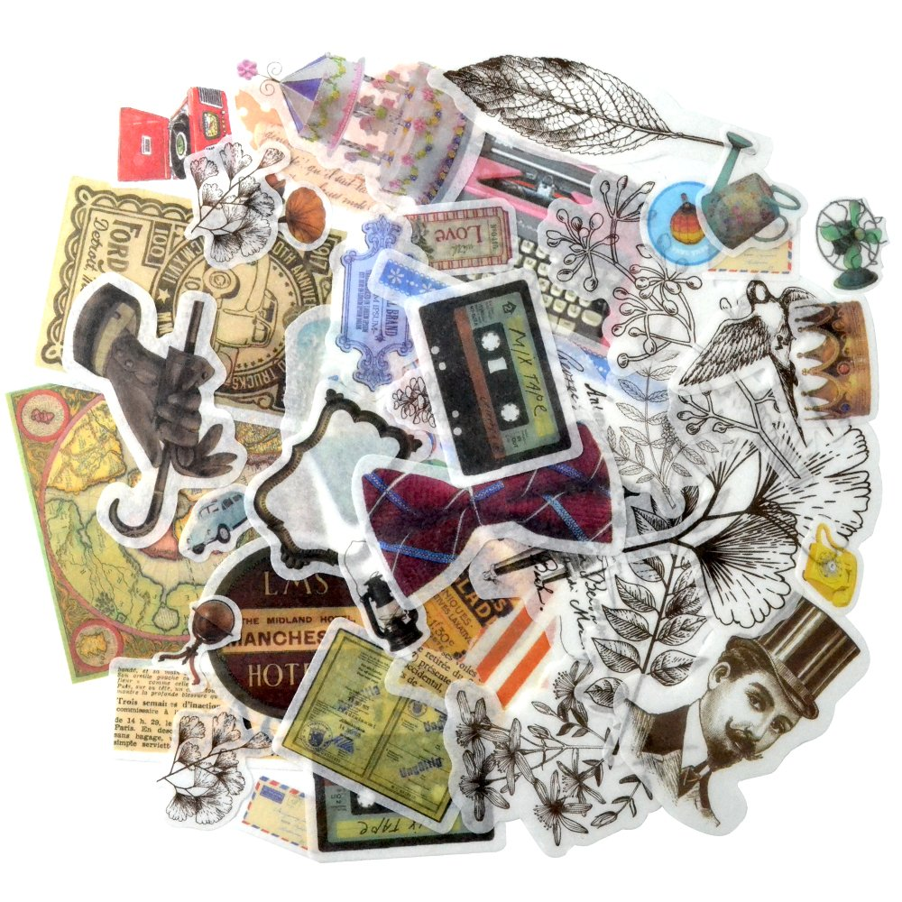 Laptop Stickers 50 Pieces, Lovely Cool Classic Retro Stickers for Lugggage Cases, Laptops, Skateboard, Bicycle, Diary, Phones for Boys and Girls