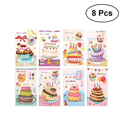 Buy 8pcs Creative Birthday Card 3D Stereo Cake Design Postcards Greeting Christmas Students Gift Cards Random Pattern Online At Low Prices In