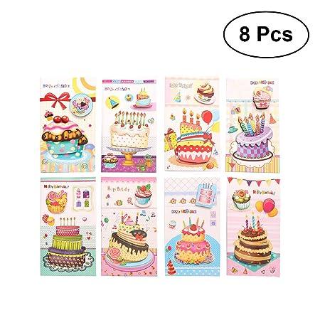 BESTOYARD Tarjeta de cumpleaños 3D Stereo Cake Postales ...