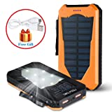 Noza Tec 15000mAh High Capacity Solar Power Charger Waterproof Solar Panel Backup Portable Power Bank Shockproof Dual USB Port External Battery Charger with LED Flashlight for Cell Phones iPhone 6s Plus Tablet Camera (Orange)