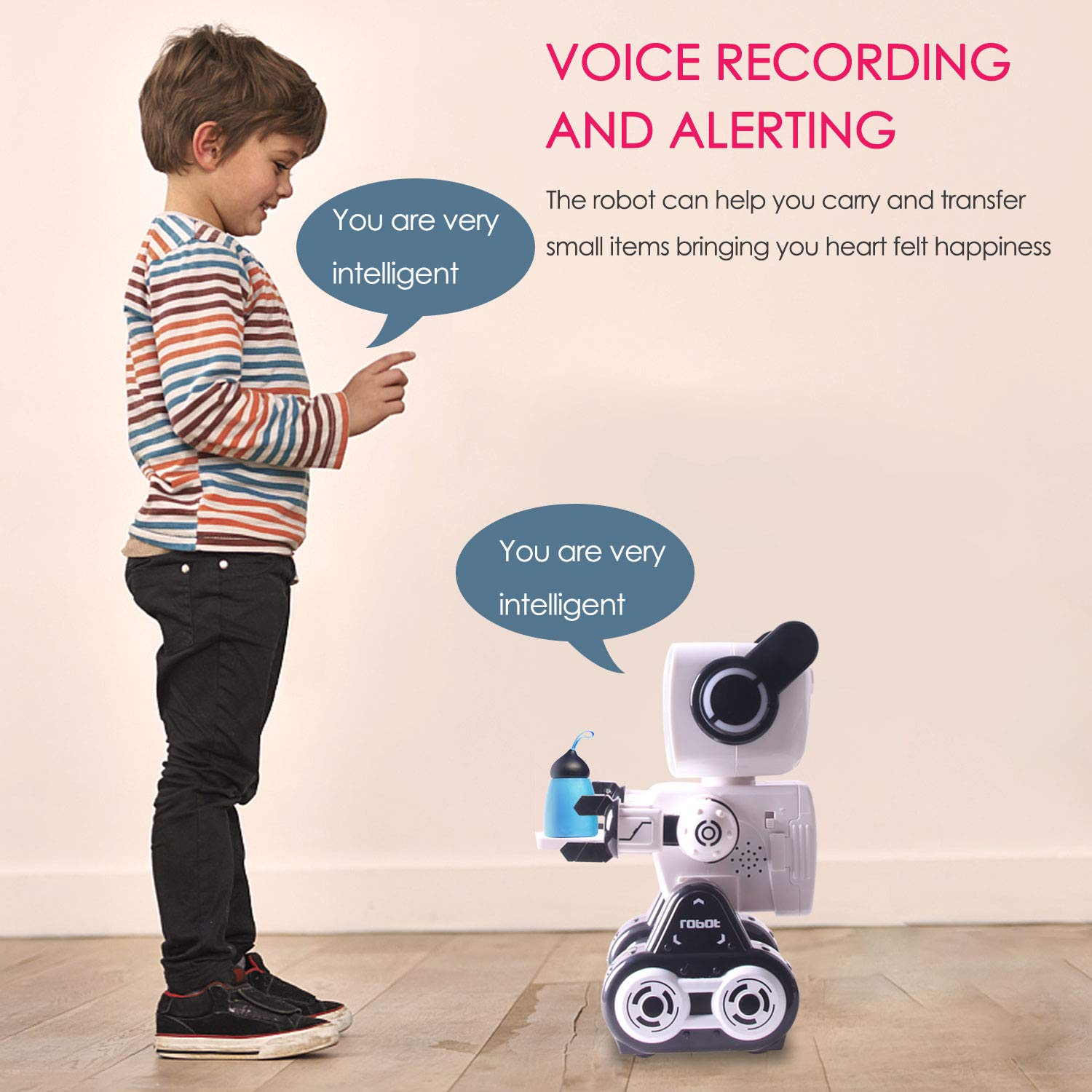 Remote Control Toy Robot for kids,Touch & Sound Control, Speaks, Dance Moves, Plays Music, Light-up Eyes & Mouth. Built-in Coin Bank. Programmable, Rechargeable RC Robot Kit for Boys, Girls All Ages. by IHBUDS (Image #5)