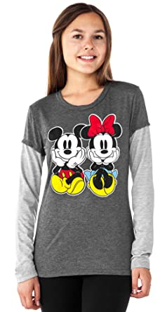 1a68e92aeeb Disney Junior T-Shirt Mickey   Minnie Mouse Layered Look Long Sleeve (Small)