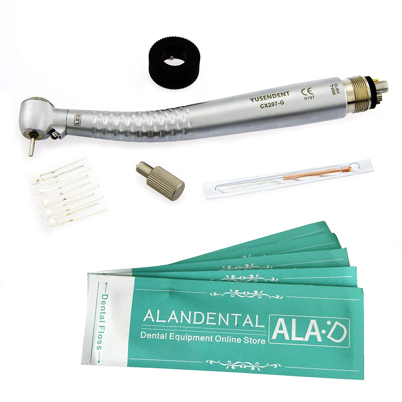 ALAN 6 ホール LED 光ファイバー 高速歯科ハンドピースLED電球交換可能 +5Pcsデンタルフロス   B07DC2GWMX