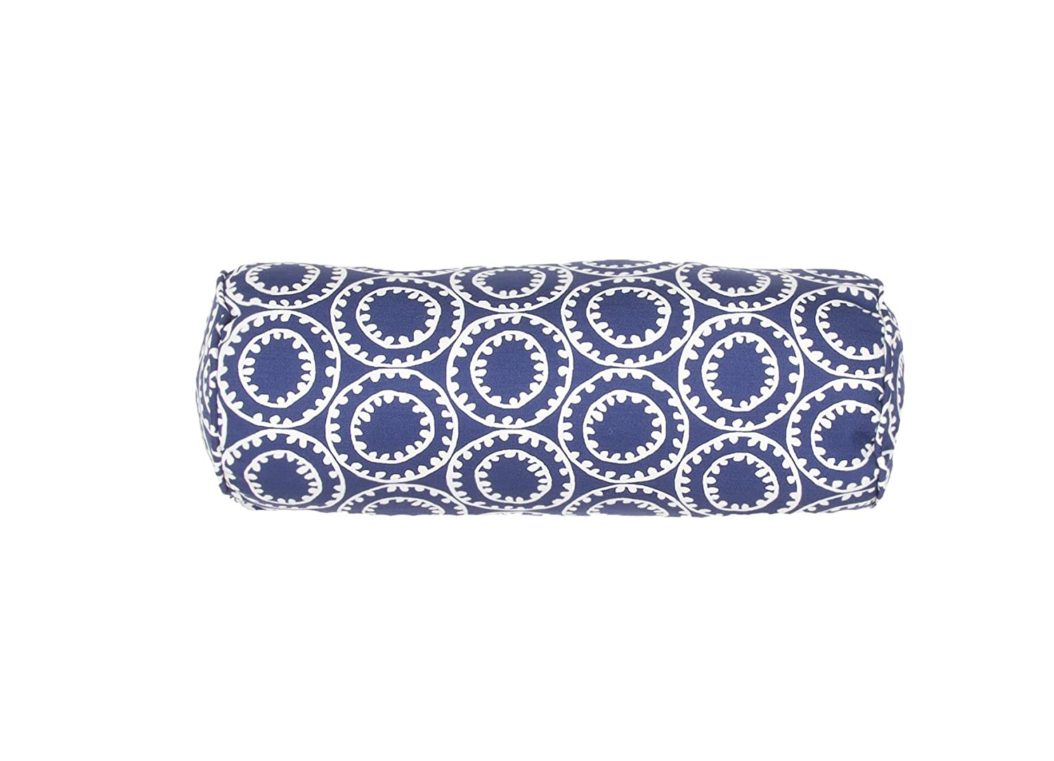 Jaipur Geometric Pattern Blue Polyester Polly Fill Pillow, 7-Inch x 20-Inch, Twilight Odl Ring A Bell