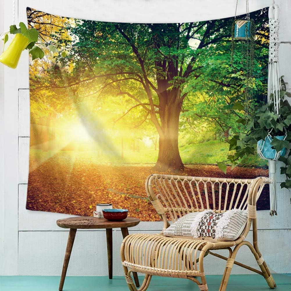 Yamer nature feuille d/érable rouge for/êt tapisserie plage boh/ème serviette couverture tenture d/écorations pour la maison pour salon chambre dortoir 150 x 130 cm