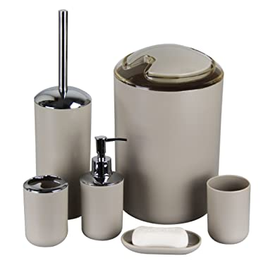 IMAVO Bathroom Accessories Set, 6 Pcs Plastic Toothbrush Holder,Toothbrush Cup,Soap Dispenser,Soap Dish,Toilet Brush and Holder,Waste Bin,Tumbler with Straw Set for Bathroom