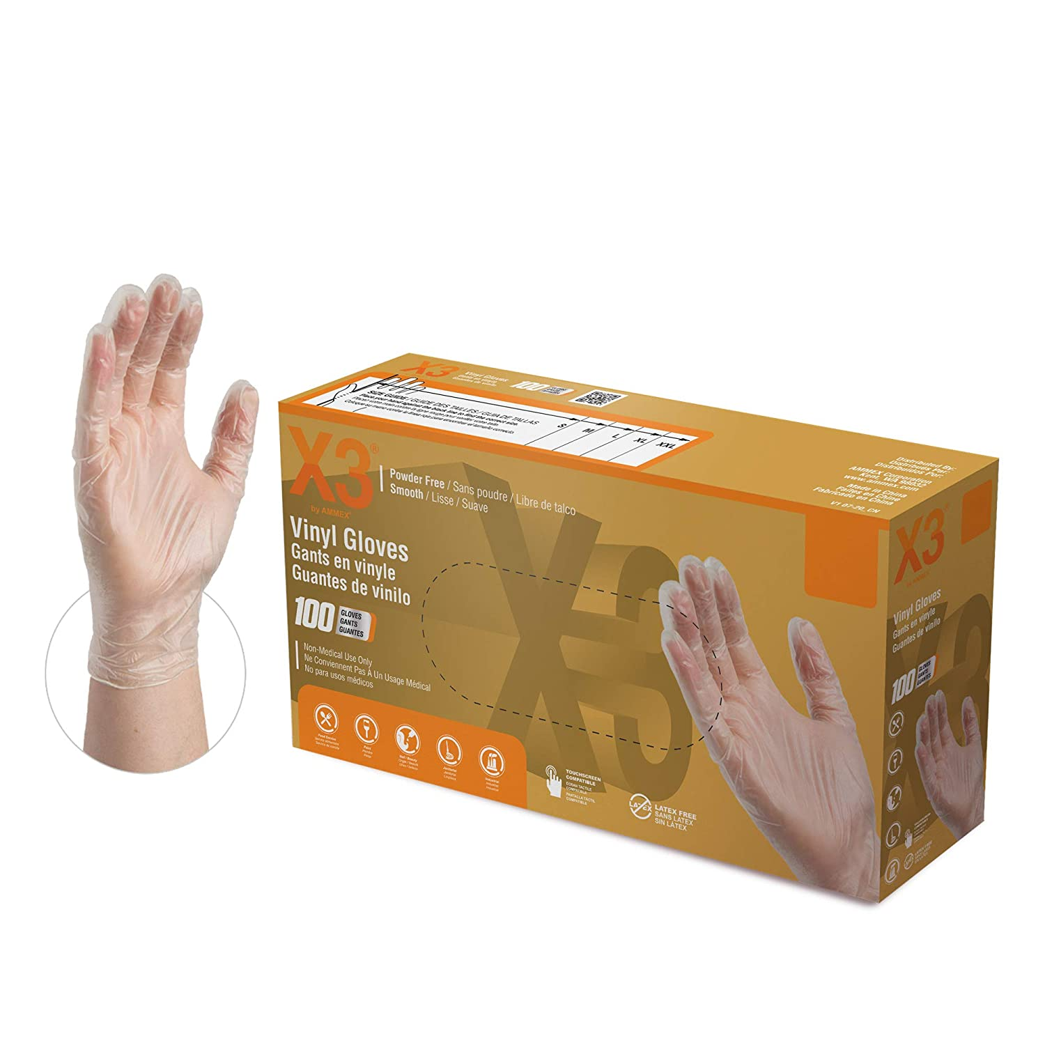 X3 Clear Vinyl Industrial Gloves, Box of 100, 3 Mil, Size Small, Latex Free, Powder Free, Food Safe, Disposable, Food Safe, GPX342100-BX