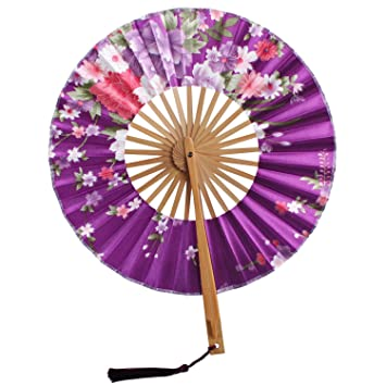 metable silk folded fans japanese folding fan with floral pattern round windmill circle handheld props for - Decorative Fans