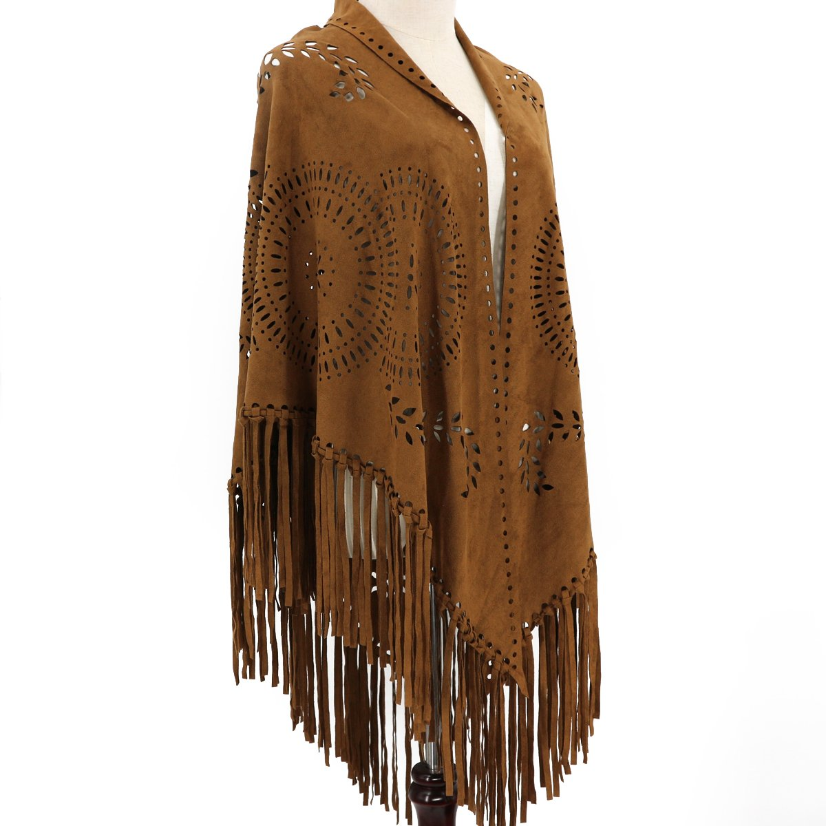 ZOFZ Fashion Suede Laser Cut Fringed Cape Shawl Wrap Scarf 4 Colors Brown