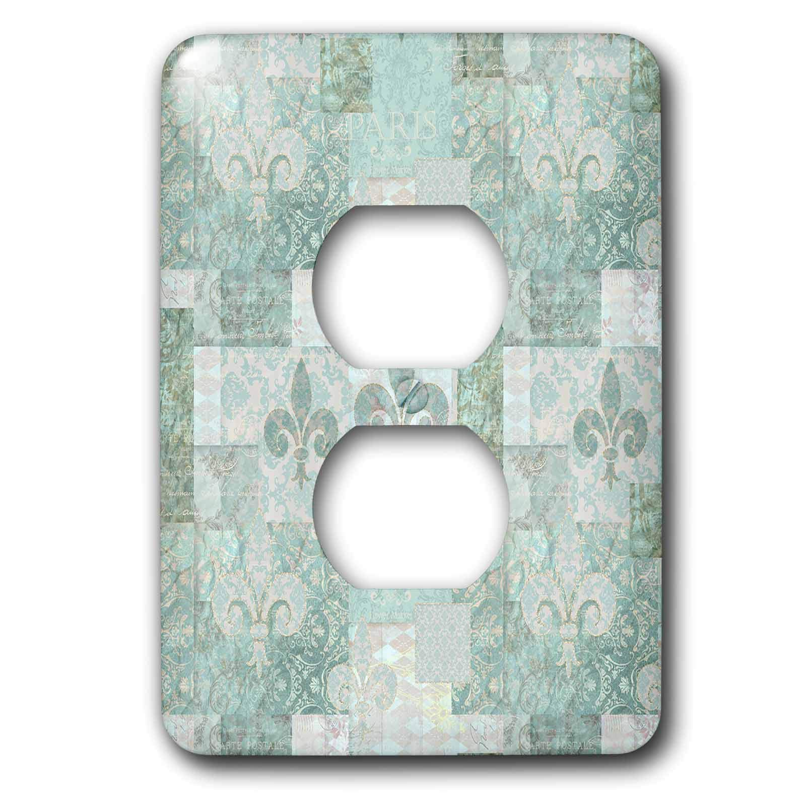 3dRose Andrea Haase Allover Pattern - Vintage Patchwork And Ornament Pattern In Pastel Teal - Light Switch Covers - 2 plug outlet cover (lsp_289393_6)