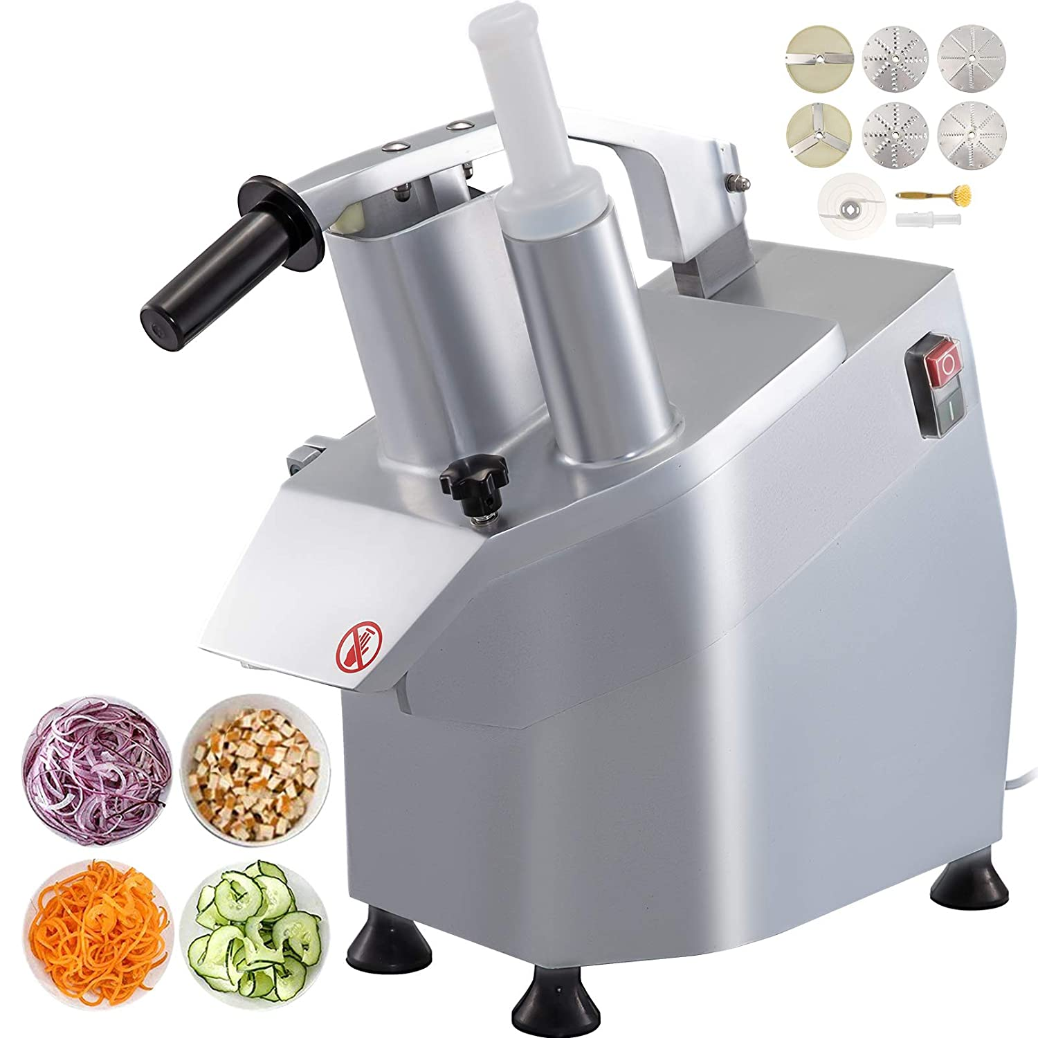 VBENLEM 110V Multi-functional Commercial Food Processor Stainless Steel Plus Cast Aluminum Alloy Fruit and Vegetable Cutter Slicer Machine 550W 1600 RPM with Detachable 6-blades Perfect for Cucumber Onion Carrot Slicing Shredding Dicing
