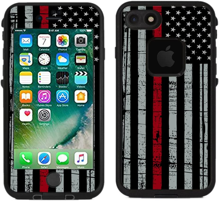 Teleskins Protective Designer Vinyl Skin Decals/Stickers Compatible with Lifeproof Fre iPhone 7 / iPhone 8 Case -Thin Red Line USA Fire Fighter Flag Design Patterns - only Skins and not Case