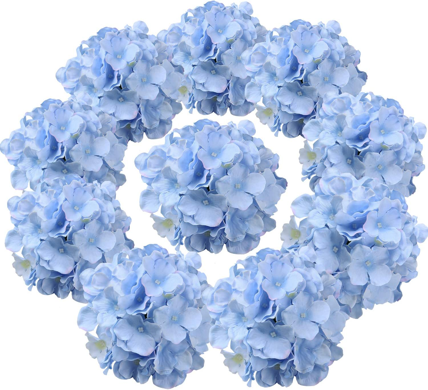 Flojery Silk Hydrangea Heads Artificial Flowers Heads with Stems for Home Wedding Decor,Pack of 10 (Blue)