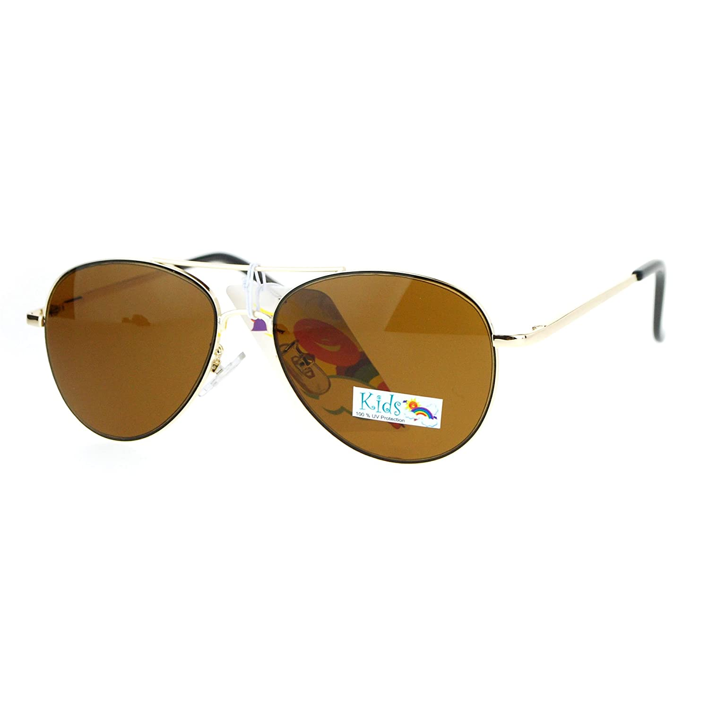 Kids Size Metal Wire Rim Classic Tear Drop Shape Pilot Sunglasses k003av-bk