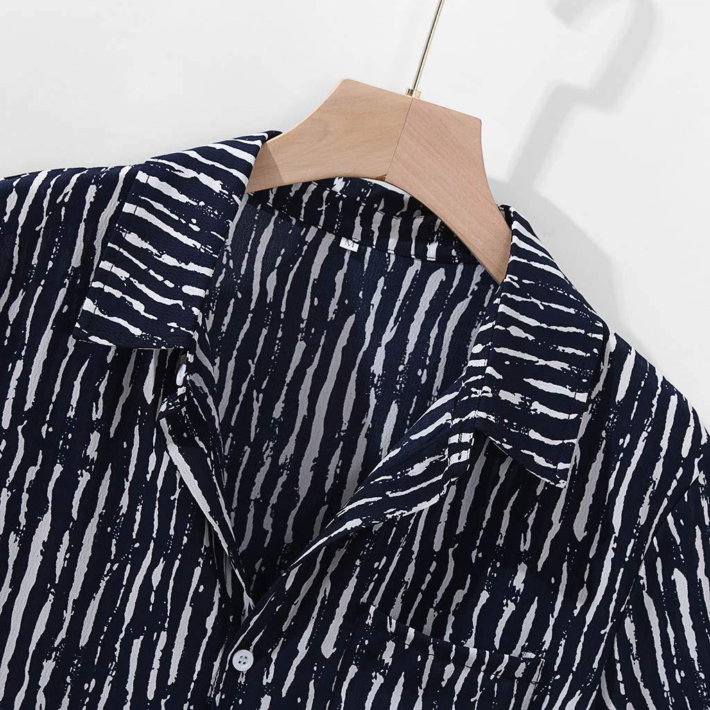 Yajiemen Mens Striped Printed Loose Short Sleeve Causal Breathable Turn Down Collar Shirt