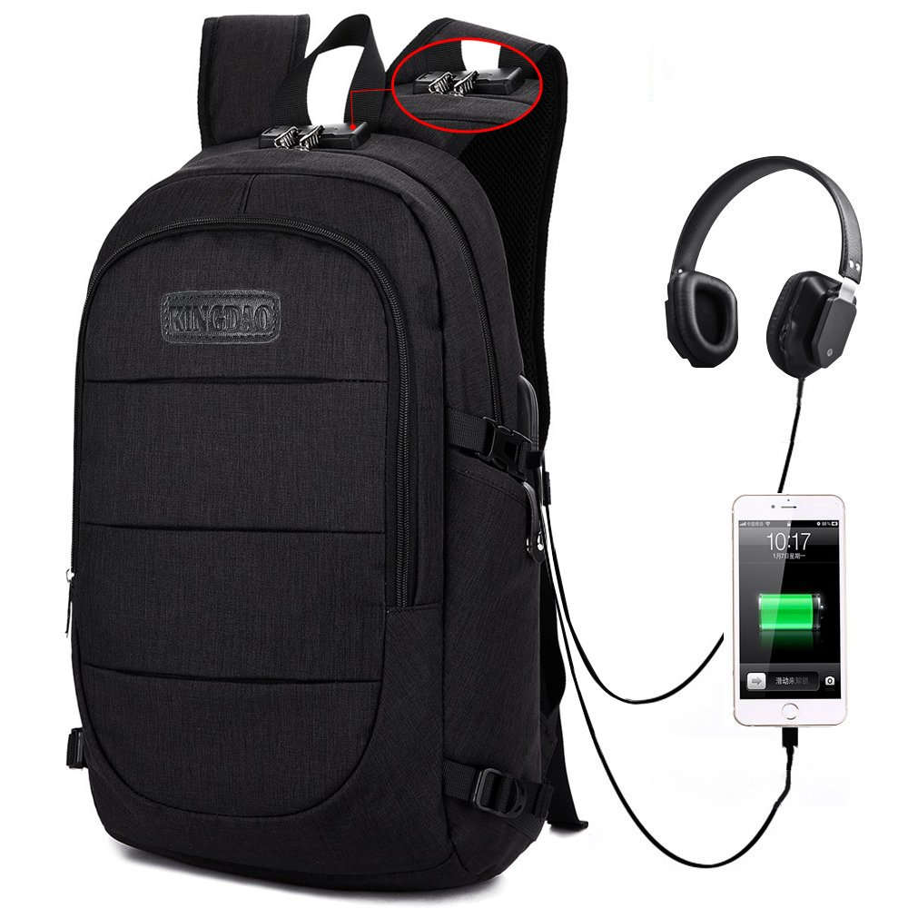 Travel Laptop Backpack,Anti Theft College School Bookbag with USB Charging Port & Headphone Interface for Women Men,Business Water Proof Computer Bag Fits Laptops & Notebooks Up to 15.6 Inches(Black)