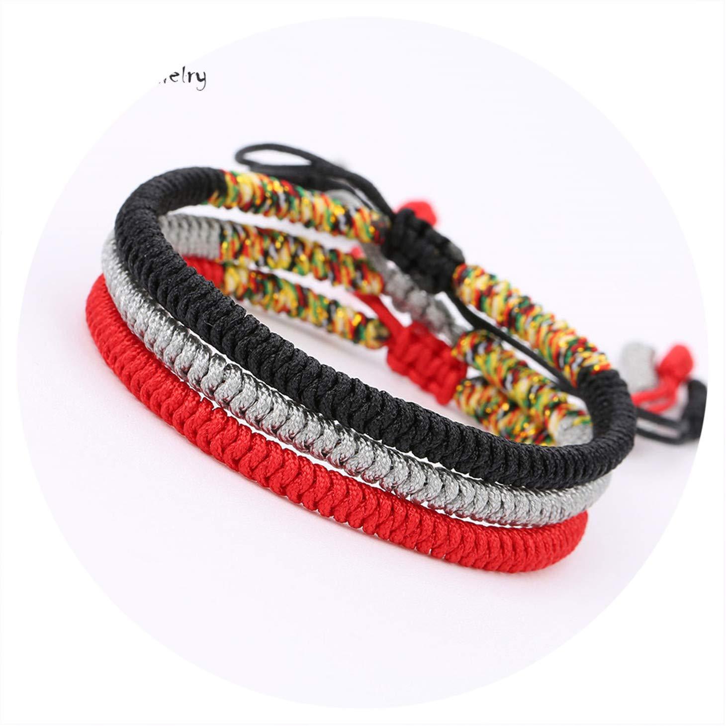 Olive Tayl 3PCS Multi Color Tibetan Buddhist Good Lucky Charm Tibetan Bracelets & Bangles for Women Men Handma by Olive Tayl (Image #1)