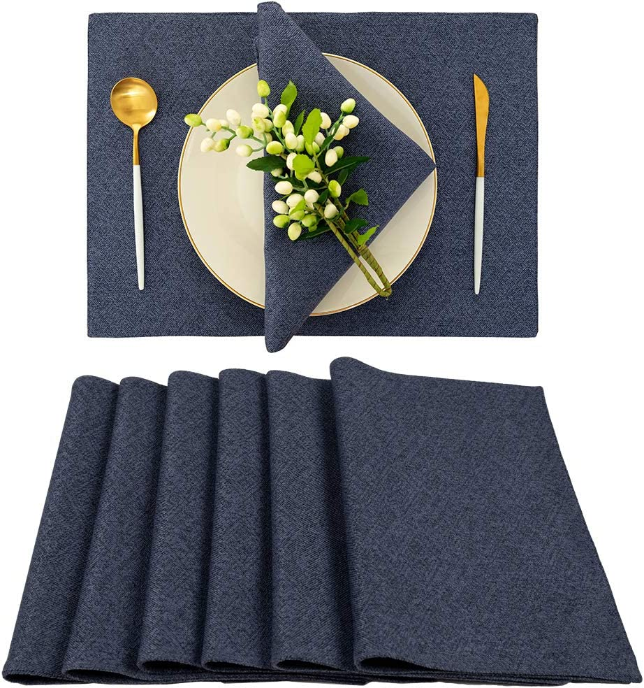 Blue Placemats Set of 6 for Dining Table - Spring Garden Home Vintage Washable Woven Linen Placemats for Kitchen Table(19 X 13 inches, Navy Blue)
