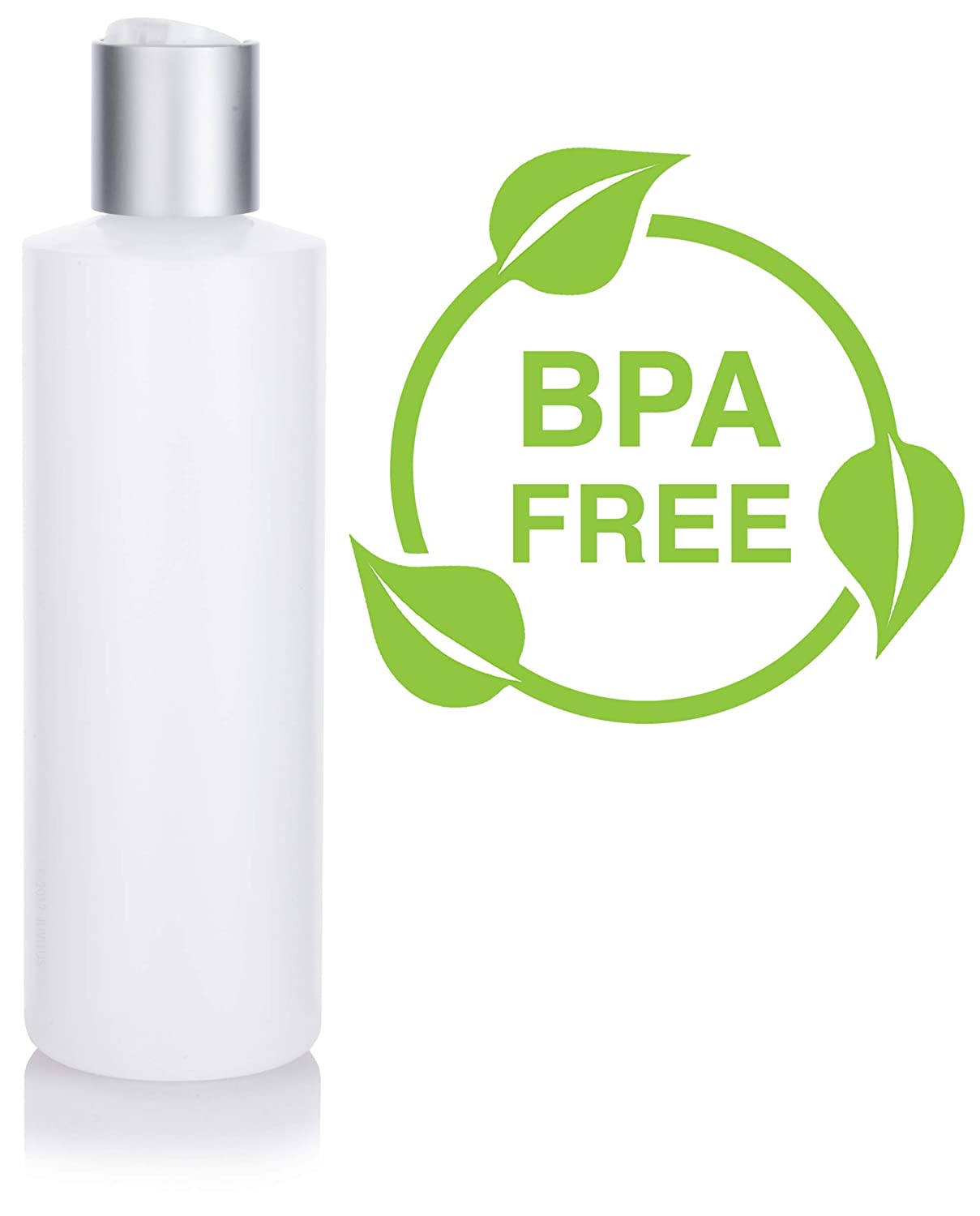 8 oz Clear Natural Refillable Plastic Squeeze Bottle with Silver Metal Disc Cap 12 Pack