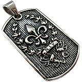 AREA17® M035 Halskette mit Edelstahl - Anhänger und geflochtener Echtlederkette- inklusive WUNSCHTEXT GRAVUR