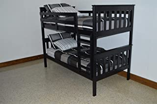 product image for Amish Kids Twin Over Twin Bunk Bed, Pine Wood, Black Paint