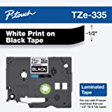 """Brother Genuine P-touch TZE-335 Label Tape, 1/2"""" (0.47"""") Standard Laminated P-touch Tape, White on black, Laminated for…"""
