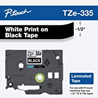 "Brother Genuine P-touch TZE-335 Label Tape, 1/2"" (0.47"") Standard Laminated P-touch Tape, White on black, Laminated for Indoor or Outdoor Use, Water Resistant, 26.2 Feet (8M), Single-Pack"