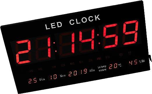 JeVx Reloj Digital de Pared Tamaño Gigante Luz Led de Color Rojo ...