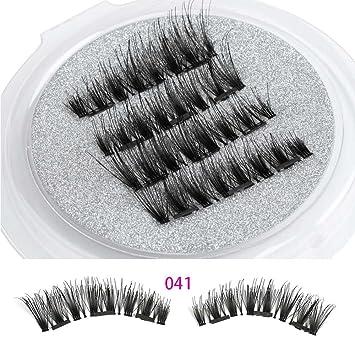 b0b2ee47be0 Amazon.com : Beauty Triple Magnetic False Eyelashes Full Coverage Glue-Free  Cross Long Magnet Eye Lashes Make Up Extension Tools : Beauty
