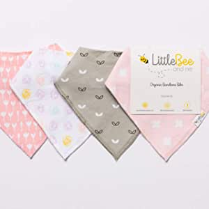 Baby Bandana Drool Bib Set of 4 for Girls, Organic Super Absorbent, Soft, Chic Drooling and Teething Bibs (Dots & Blossoms) by Little Bee & Me