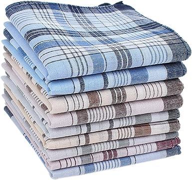 HOULIFE 6&9pcs pañuelos de tela para hombre 100% algodón suave Handkerchief con cuadros Mezcla de 2 – 9 unidades. Talla única: Amazon.es: Ropa y accesorios