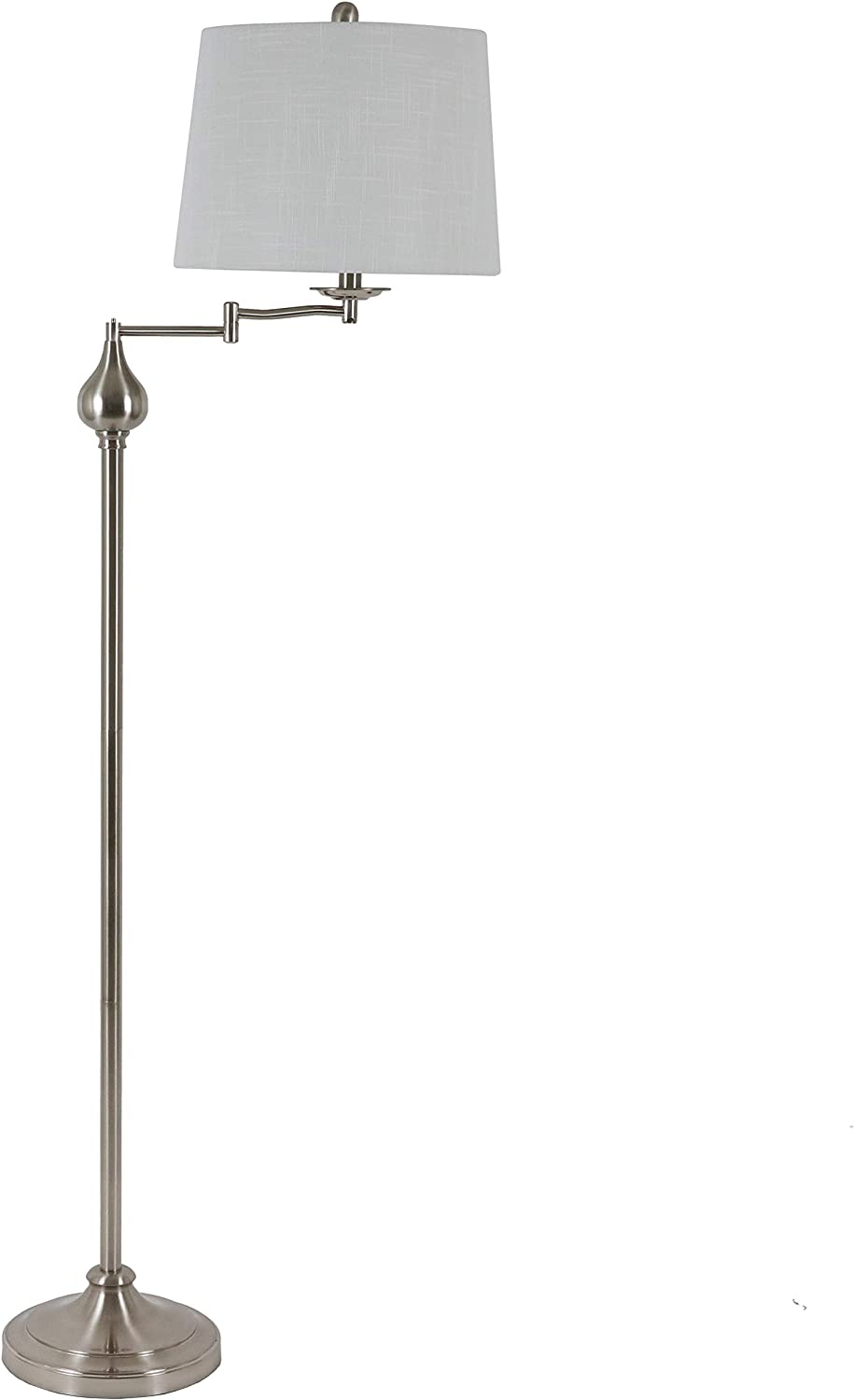 Decor Therapy Tina Floor Lamp with Swing Arm and Ball Accent, Brushed Steel