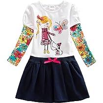 VIKITA Vestido Dibujos Floral Manga Larga Algodón Casual Niñas LH5926 3T: Amazon.es: Ropa y accesorios