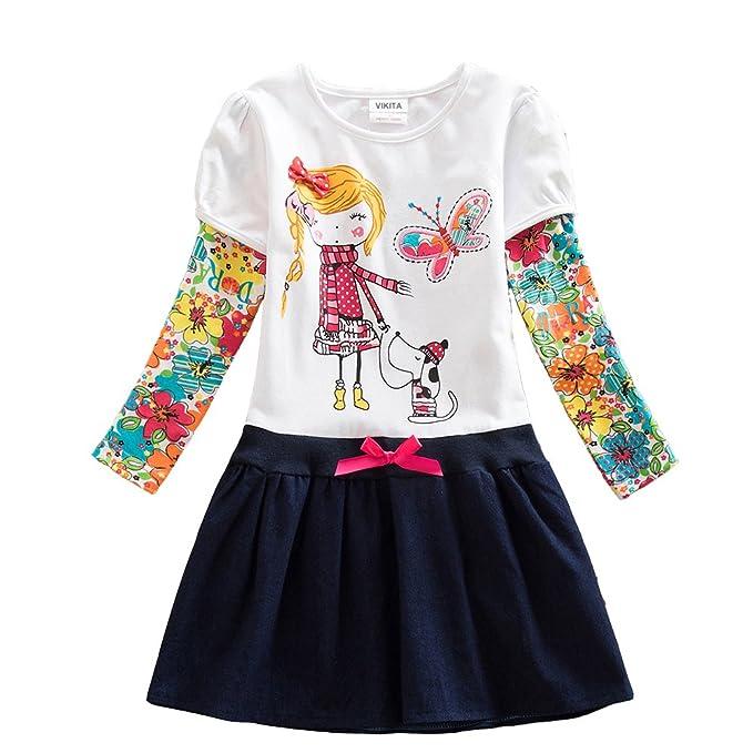 d1a579ceb0a5 VIKITA Baby Girl Cartoon Flower Cotton Dress Long Sleeve Winter ...