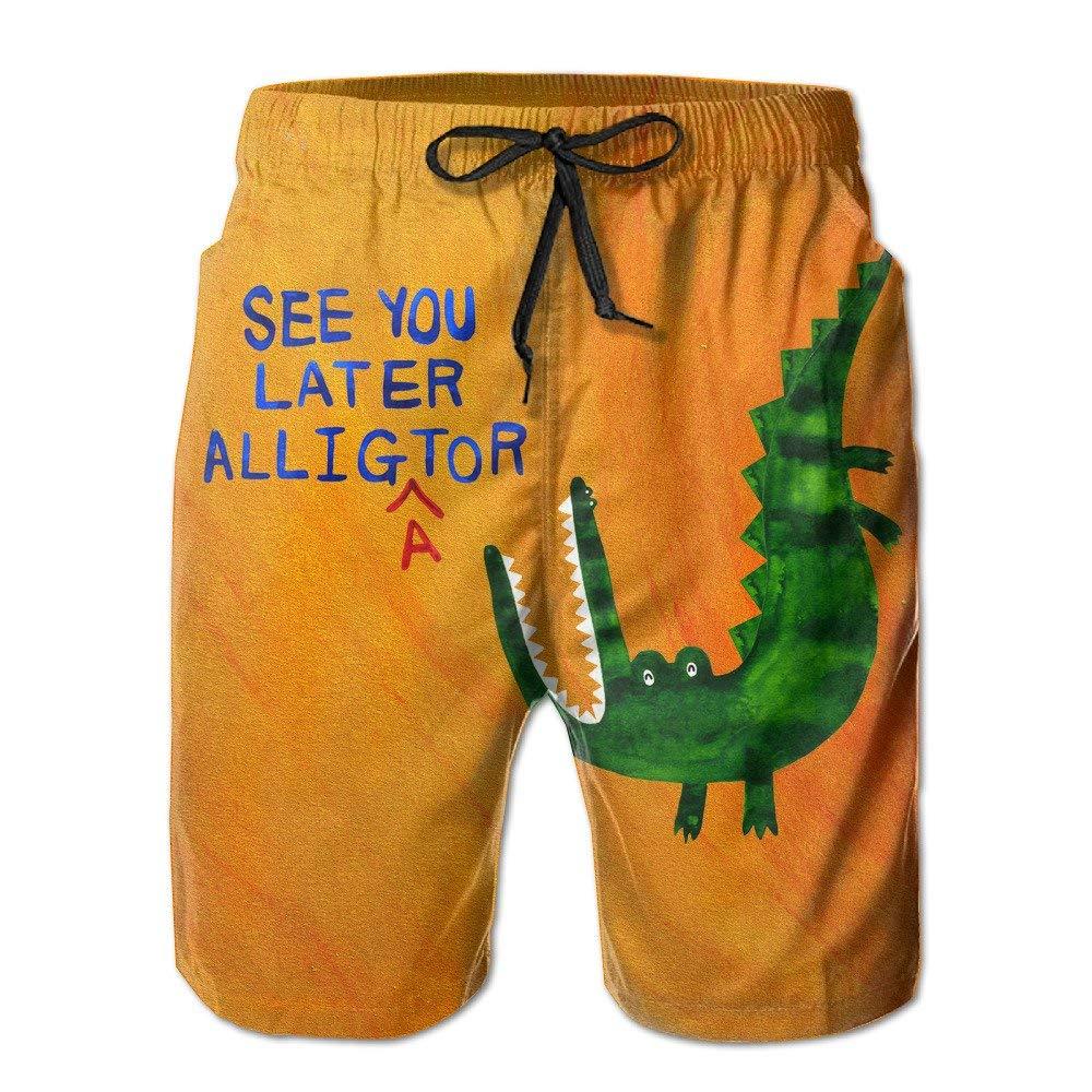 Mens See You Later Alligator Green Crocodile Summer Swim Trunk /& Beach Shorts