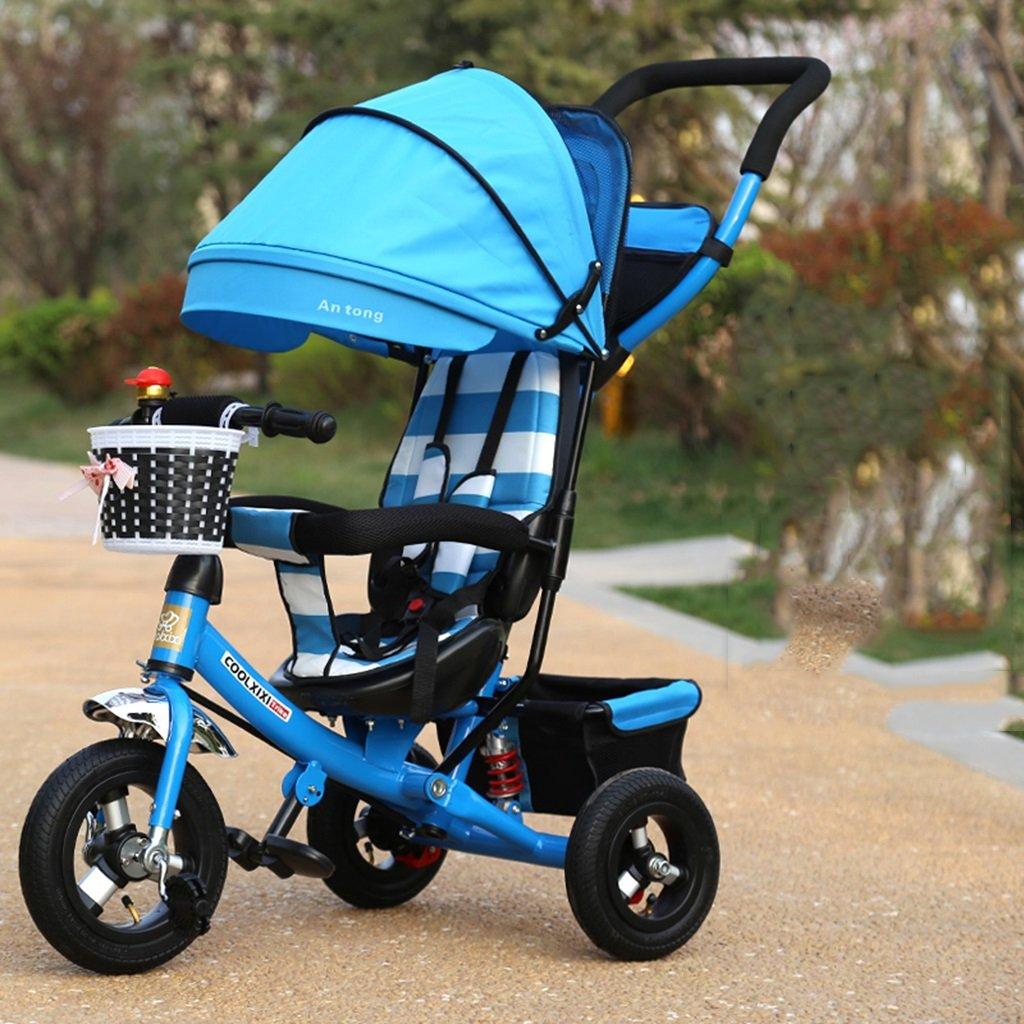 HAIZHEN マウンテンバイク 子供用三輪車の調整布張りアルミ合金ダンピングチタン空車自転車安全ベルト付き1-5歳バスケット付きダブルプッシュロッドベビーベビーカー 新生児 B07DL7FLG5 5 5