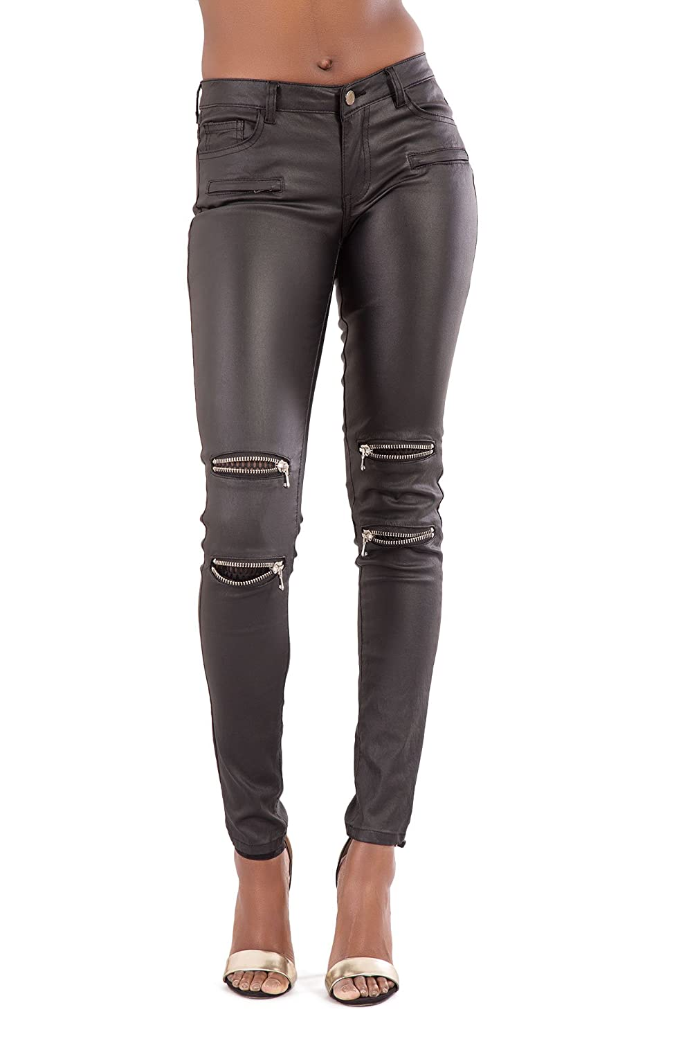 6183265dbc2 Womens Sexy High Waisted Biker Style Faux Leater Wet Look Shapewear Trousers  Pants-L  Amazon.co.uk  Clothing