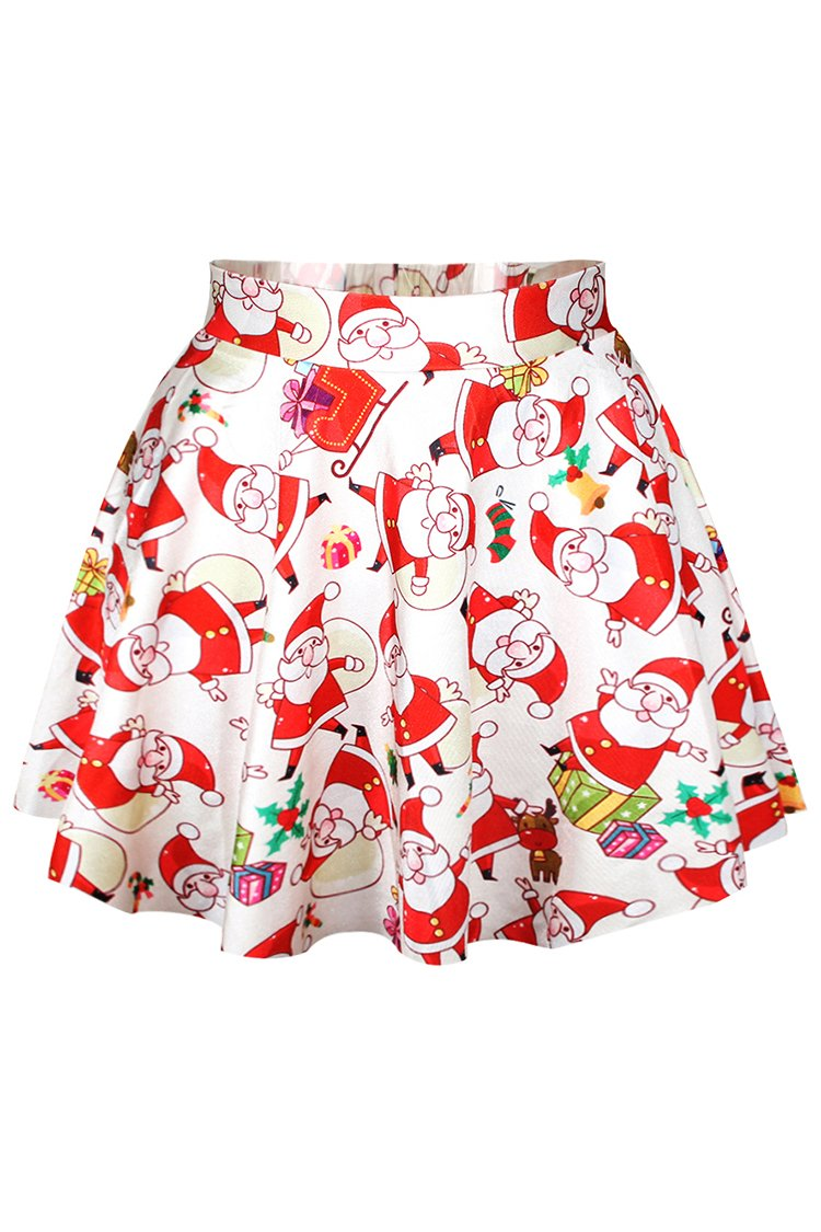 Pink Queen Womens Digital Print Stretchy Flared Pleated A-Line Skater Party Mini Skirt (Free Size, Red-3207)