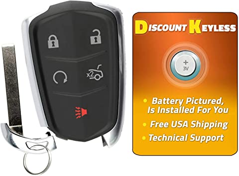 2015-2016 Cadillac Escalade Smart Keyless Entry Remote w// Insert Emergency Key