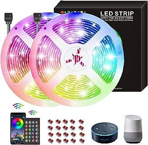 65.6ft Led Strip Lights for Bedroom, Color Changing 5050 RGB Led Lights with Remote, Upgrade App Control Led Light Strips for Room, Christmas,TV, Kitchen, Party