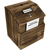 Rustic Suggestion Box with Lock: Wooden Ballot Comment Box, Wall Mounted or Freestanding. Includes Printed Labels…