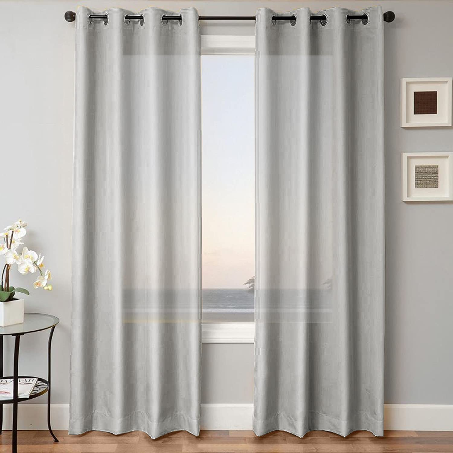 LuxuryDiscounts 2 Piece Solid Faux Silk Grommet Window Curtain Treatment Panel Drapes