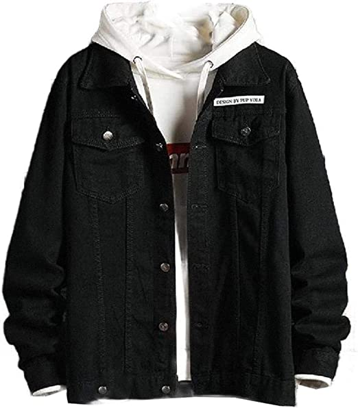 Mens Jacket College Jacket Plus-Size Casual Denim Jean Jacket Coat