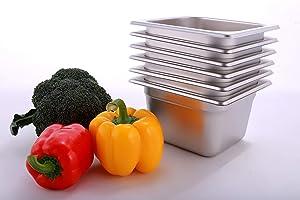 Hakka 1/6 Size Stainless Steel Food Pans,6