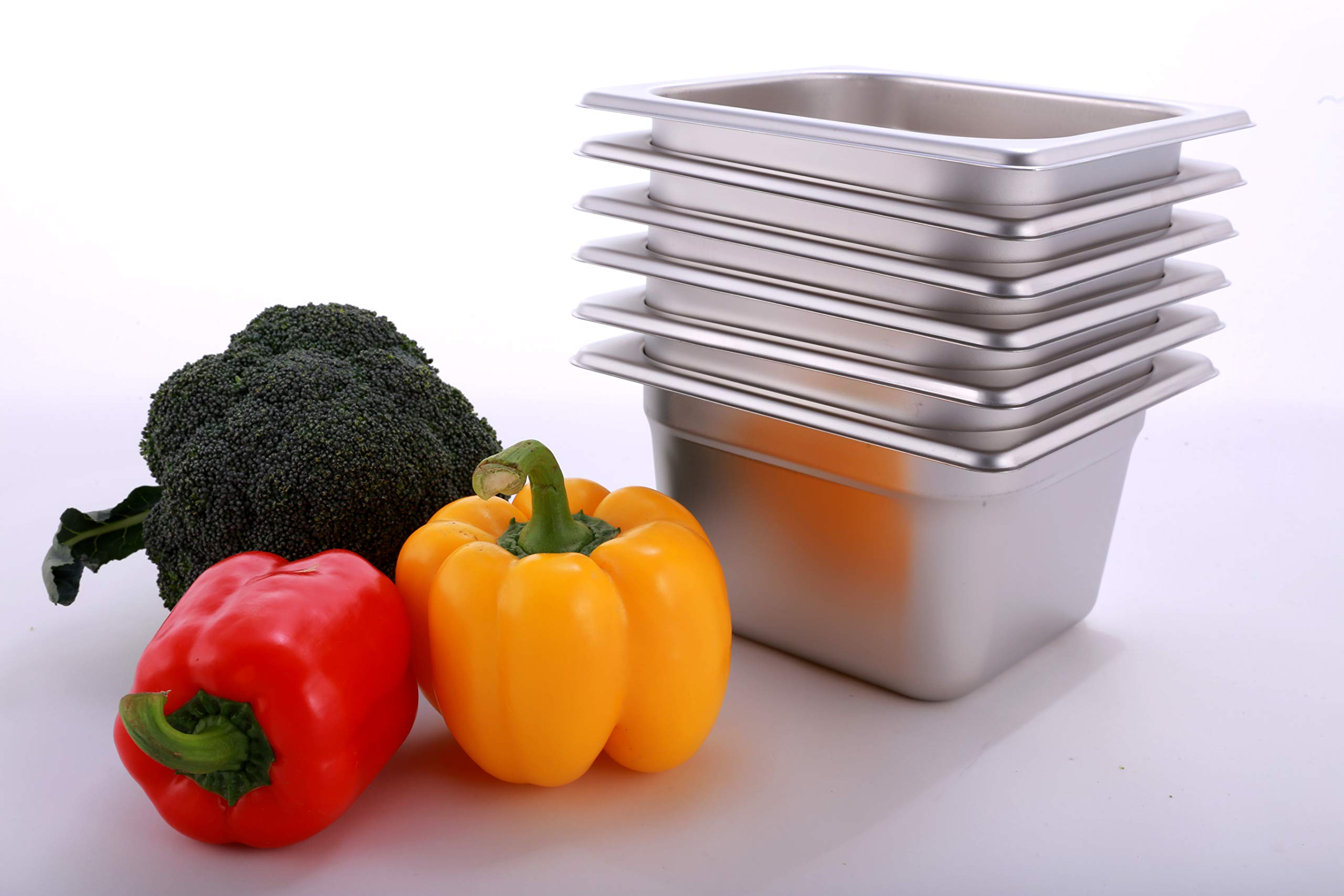Hakka 1/6 Size Stainless Steel Gastronorm Pans,6''Deep Gastronorm Containers- Pack of 6